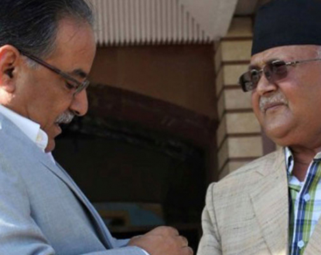 Dahal calls on PM Oli at Baluwatar