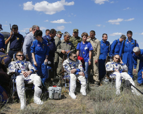 3 International Space Station astronauts land in Kazakhstan