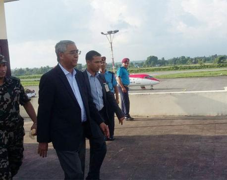 PM Deuba inspects flood-hit areas in eastern Tarai