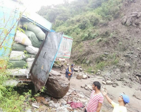 Landslide damages cargo truck at Rasuwa check point