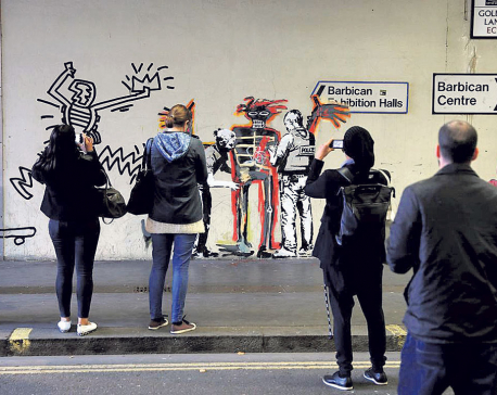 New Banksy works mark Basquiat show at London's Barbican
