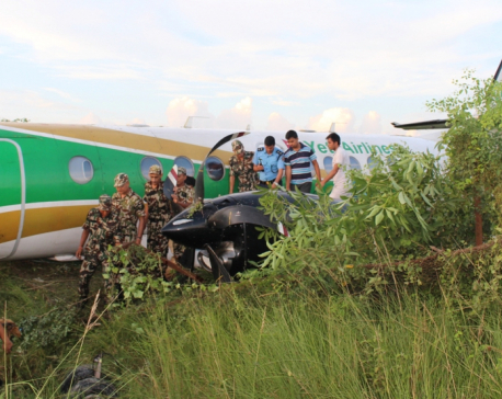 Yeti Airlines aircraft dislodges from runway at Bhairahawa airport