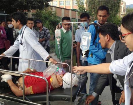 Woman injured in Dhading bus mishap dies at TUTH