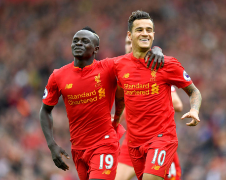 Mane, Coutinho score for Liverpool in 2-1 win over West Brom