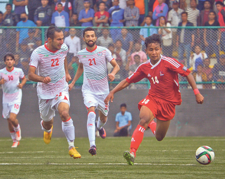 Nepal goes down 2-1 to Tajikistan on home ground