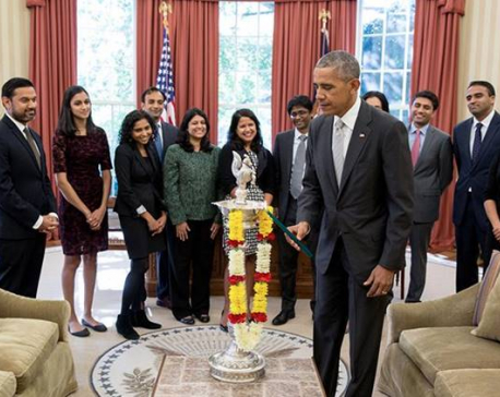 US President Barack Obama celebrates Deepawali