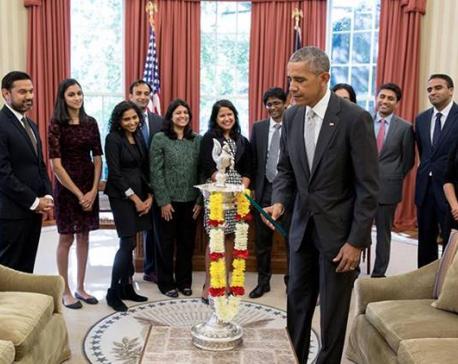 US President Barack Obama celebrates Deepawali