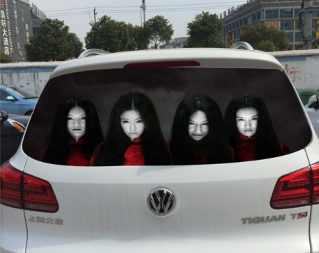 Chinese drivers try to deter nighttime high-beam use with scary decals
