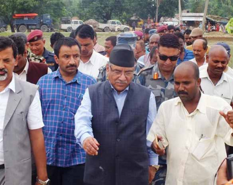 Former PM Dahal observes flood-hit areas in Saptari