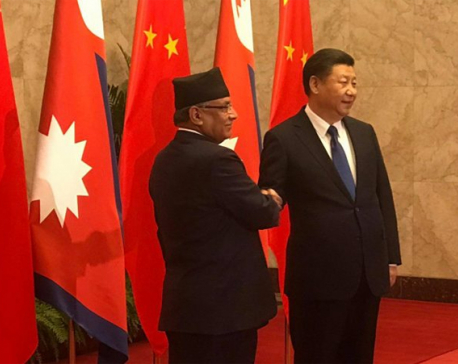 PM Dahal meets President Xi (with photo feature)