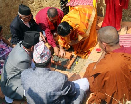 President lays foundation stone of Lumbini International Buddhist Meditation Center