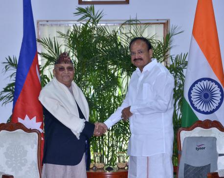 PM Oli calls on Indian Vice President Naidu