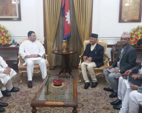 PM Oli meets Congress President Gandhi, ex-PM Singh