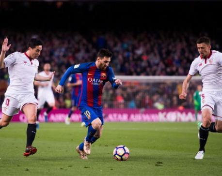 Suarez scores twice as Barcelona thrash Sevilla in the Copa del Rey