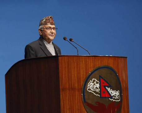 PM Oli addressing Province Assembly