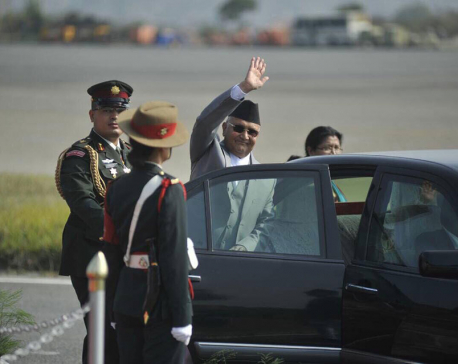 PM Oli leaves for India on three-day state visit today (with photos)