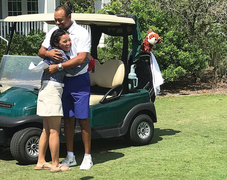 'Amazing' Sherpa gets golf lessons from Tiger Woods
