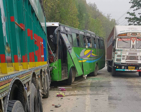 Overtaking bus rams into truck injuring 27
