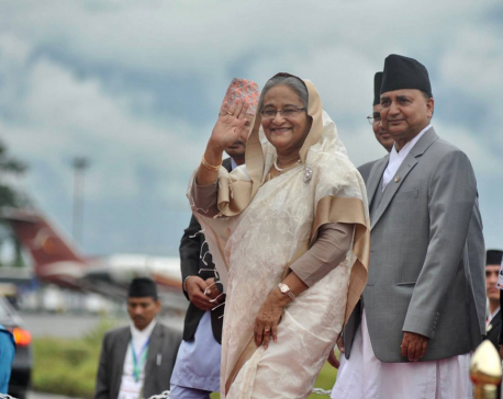 Bangladesh PM Wazed arrives in Kathmandu for BIMSTEC (with photos)