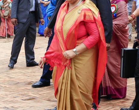 President Bhandari visits Krishna Mandir