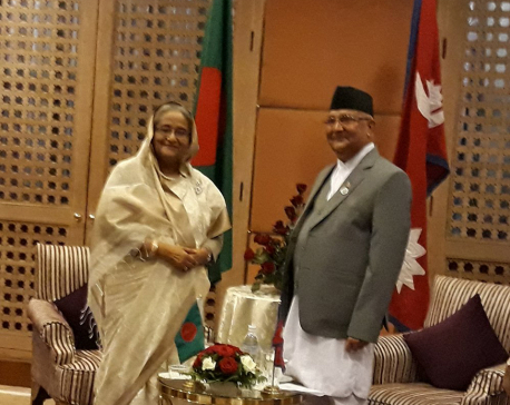 PM Oli meets Bangladeshi PM