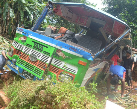 Fifty seven injured as overcrowded bus veers off road