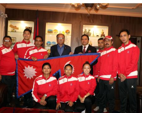 Dahal bids farewell to table tennis team taking part in Asiad