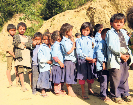 Chepang students go to school barefoot in freezing cold