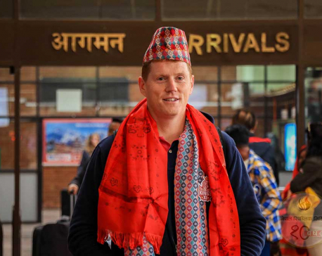 Irish cricketer Kevin O'Brien dons Dhaka Topi as he lands at TIA for the EPL (Photos)