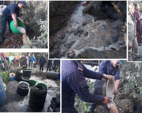 Police destroy 20, 875 liters of hooch in Balaju