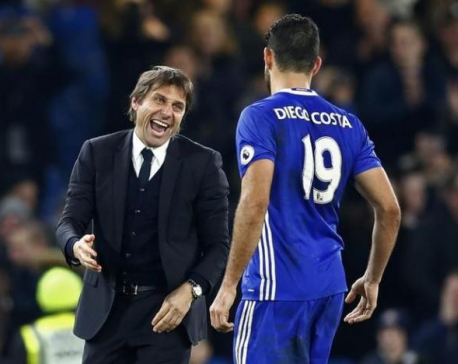 Costa praises manager Conte for Chelsea turnaround