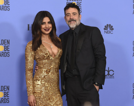 Priyanka joins Jeffrey Dean Morgan onstage at Golden Globes