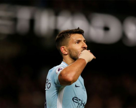 Brilliant Aguero scores four to lift City 16 points clear