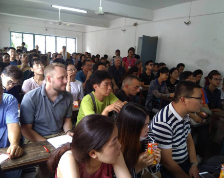 Foreigners attracted to Nepali language