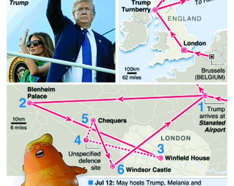 Infographics: Trump's UK trip aims to avoid protests