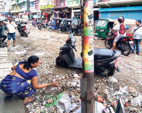 Delay in road expansion causes flash flood in Dharan