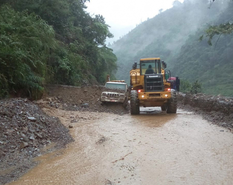 Jeep buried as landslide obstructs Narayangadh - Mugling road