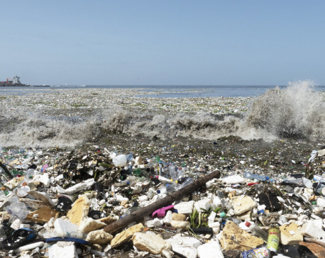 Waves of garbage are washing onto a beach in the Dominican Republic