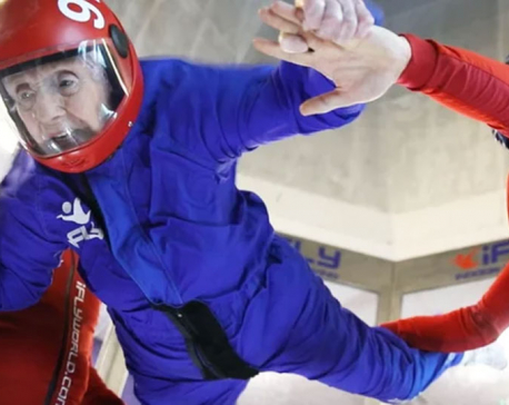102-year-old Eva Lewis went indoor skydiving for her birthday