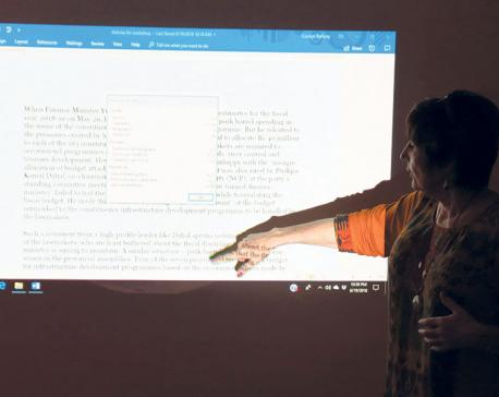 Carmen Renee Berry conducts a writing workshop in Kathmandu