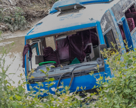 (IN PICTURES) Bus plunges into Sesmati River at Balaju