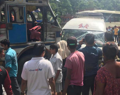 Seven injured in Dhading truck-microbus collision