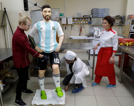Life-size chocolate Lionel Messi for his birthday