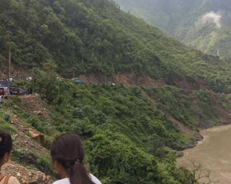 Landslide at Charkilo, Narayangadh-Mugling road obstruction
