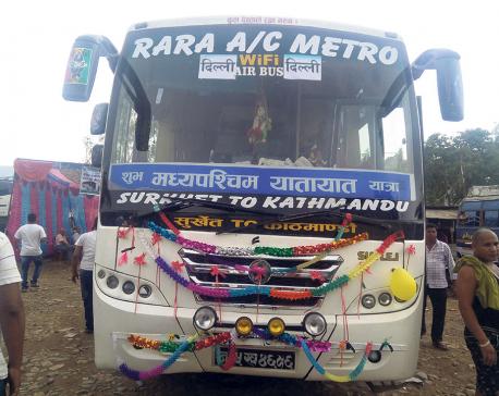 Surkhet-Delhi bus service starts