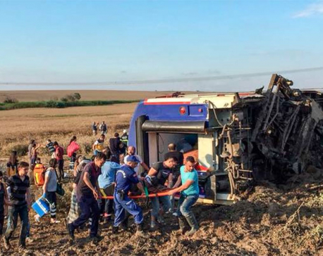 Ten killed as Turkish train derails after heavy rain