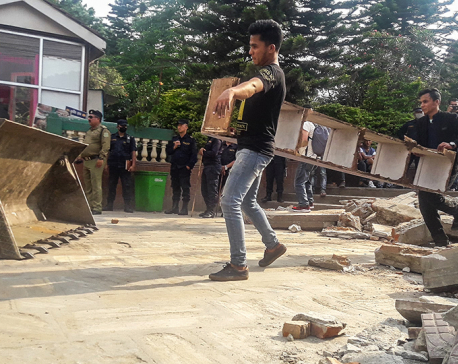 Shopkeepers dismayed as KMC starts demolishing shops on Dharahara premises