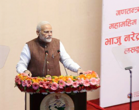 Modi recalls earthquake, constitution, misses blockade