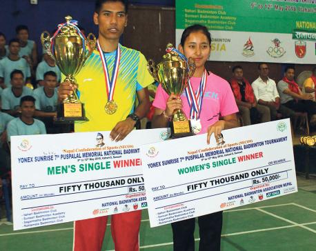 Jessica Gurung seals Pushpalal double, Ratnajit Tamang wins his sixth