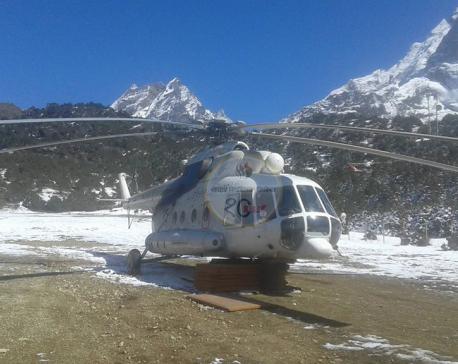 Snowy runway breaks helicopter's wheels